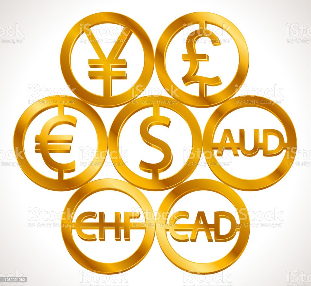 World Currencies Signs Dollar Icon Euro Sign Pend Sterling Symbol
