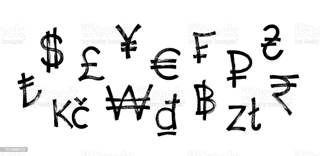 World Currency Icons Set Black Graffiti Symbol Of Currency Over