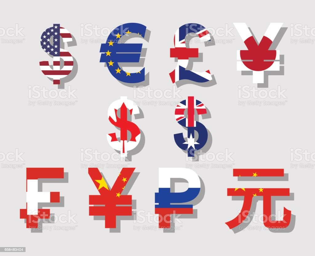 world currency signs vector art illustration