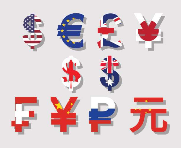 world currency signs Flat vector with flag and shadow currency symbols icon set of USA, Canada, Australia, Britain, EU, Russia, China, Japan yuan symbol stock illustrations