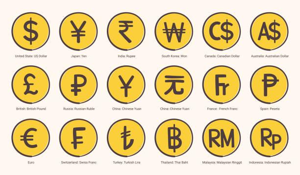 stockillustraties, clipart, cartoons en iconen met wereld valutasymbool iconen illustratie in vector-formaat - thaise munt