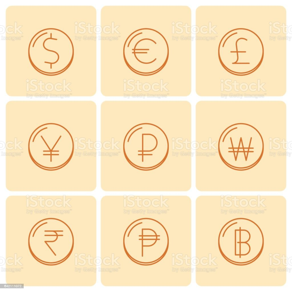 World Currency Symbols At Coins Vector Thin Outline Icon Set Stock