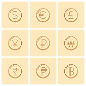 World currency symbols at coins. Vector thin outline icon set.
