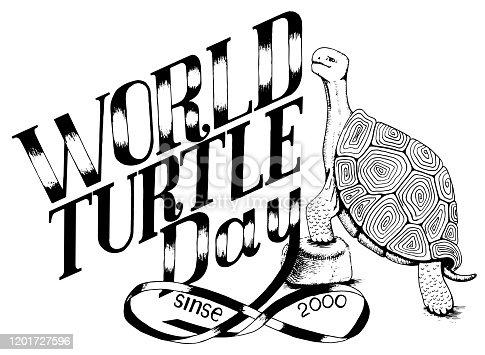 world day of turtle enviroment protection monochrome illustration