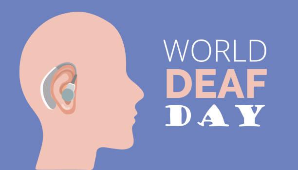 illustrazioni stock, clip art, cartoni animati e icone di tendenza di world deaf day in last sunday of september concept vector. rally, seminar and various deaf awareness campaign - sordità