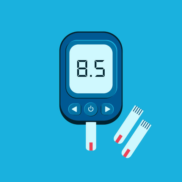 World Diabetes Day. World Diabetes Day Awareness. World diabetes day banner with electronic glucometer which shows glucose level. Vector illustration. glycemic index stock illustrations