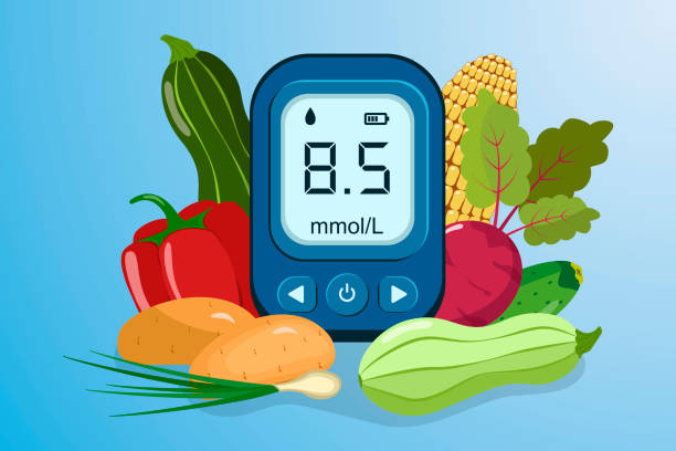 World Diabetes Day. World Diabetes Day Awareness. World diabetes day banner with electronic glucometer and fresh vegetables. Vector illustration. glycemic index stock illustrations