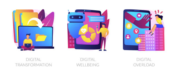 World digitalization vector concept metaphors. Technologies integration, online documents organization. Modern innovation. Digital transformation, digital wellbeing, digital overload metaphors. Vector isolated concept metaphor illustrations. digitized stock illustrations