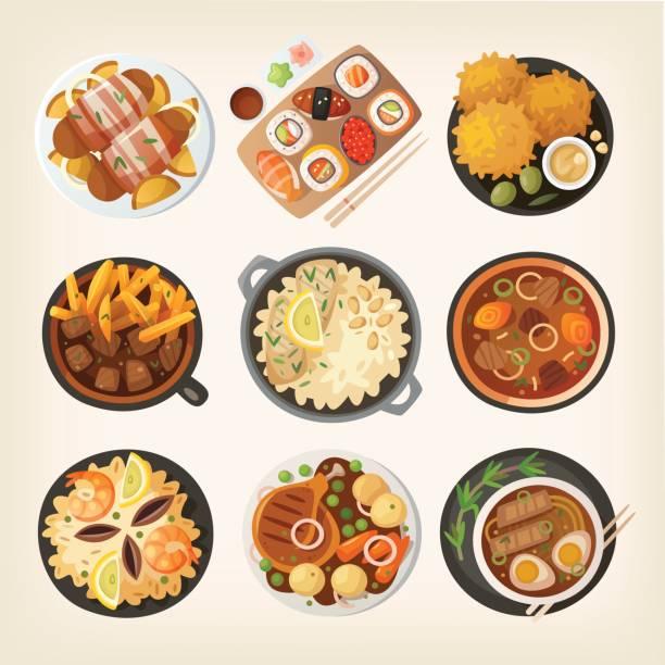 ilustraciones, imágenes clip art, dibujos animados e iconos de stock de cenas del mundo desde arriba 2 - comida india