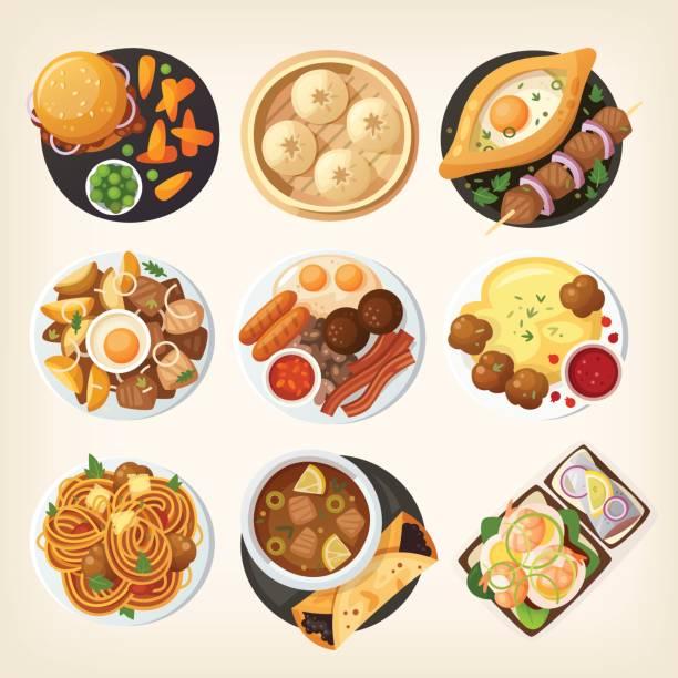 illustrations, cliparts, dessins animés et icônes de dîners de monde de haut - risotto