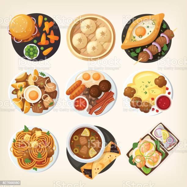 Dîners De Monde De Haut Vecteurs libres de droits et plus d'images vectorielles de Aliment