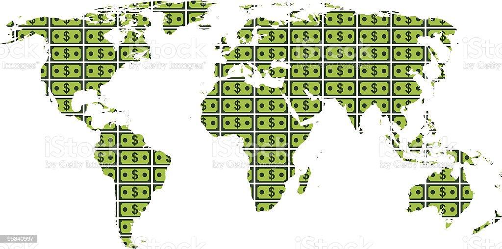 World Dollar Map royalty-free stock vector art
