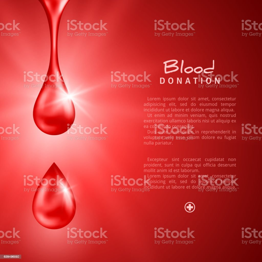 World Donor Day Poster or Flyer with Red Drops vector art illustration