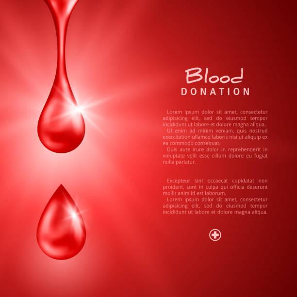 World Donor Day Poster or Flyer with Red Drops - ilustração de arte em vetor