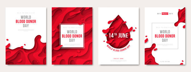 World donor day set of posters World donor day set of posters or invitations, medical design with 3d paper cut shapes and red drop. Vector illustration. Place for text. Blood Donation Lifesaving and Hospital Assistance anemia stock illustrations
