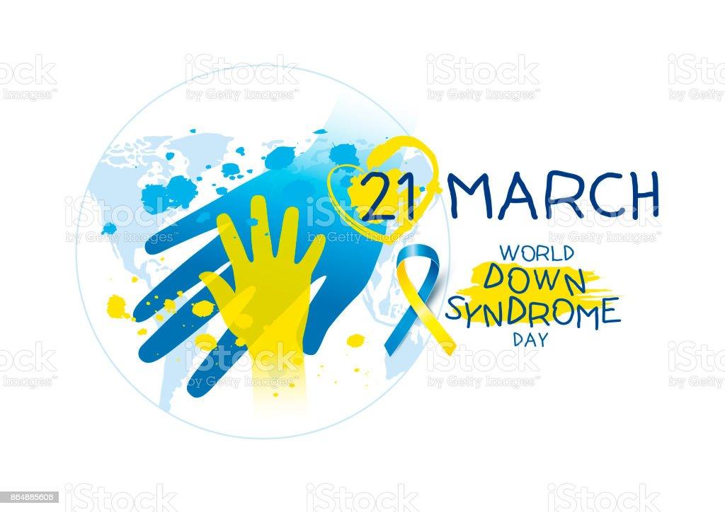 Welt Down Syndrom Tag Design auf weißem Hintergrund – Vektorgrafik