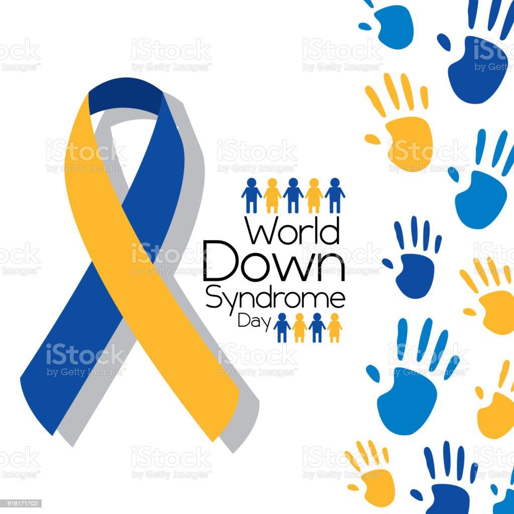 world down syndrome day greeting card symbolic color campaign vector art illustration