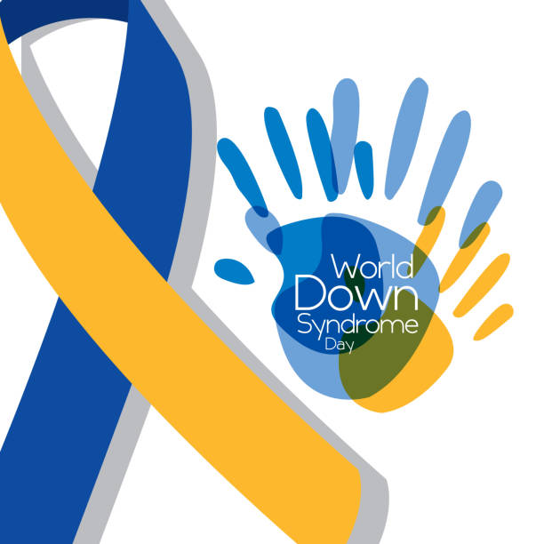 world down syndrome day painted hands big ribbon symbol vector art illustration