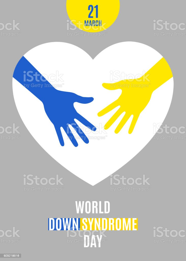 World Down Syndrome Day Poster Blue Yellow Hands With White Heart ...