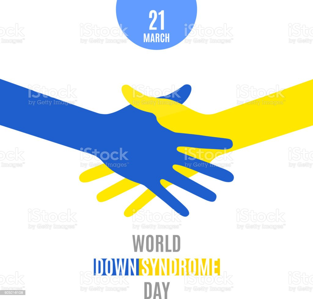 World Down Syndrome Day Poster Handshake Using Blue Yellow Hands