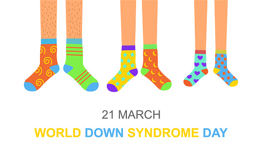 World Down syndrome day poster or invitation card. Man, woman and children feet in different colorful odd socks as a symbol for WDSD. Vector flat illustration