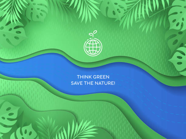 world earth day background. paper cut style design in green and blue colors. - river paper stock illustrations, clip art, cartoons, & icons