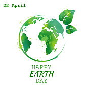 World earth day grunge style, vector illustration
