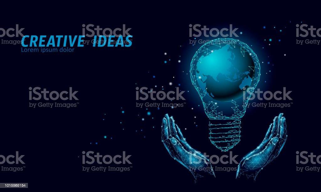 World Earth Hour light bulb concept. Polygonal night space star dark...