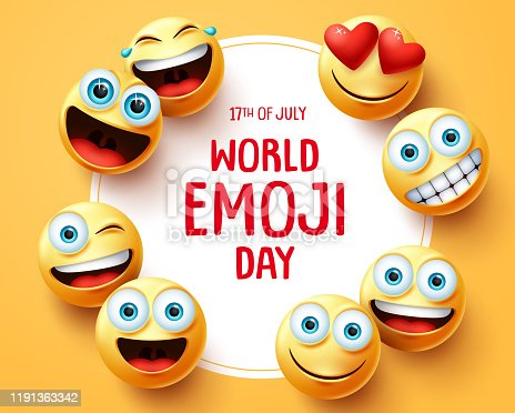 World emoji day vector background template. World emoji day text in circle white frame with cute smileys emojis face and different facial expression in yellow empty background. Vector illustration.