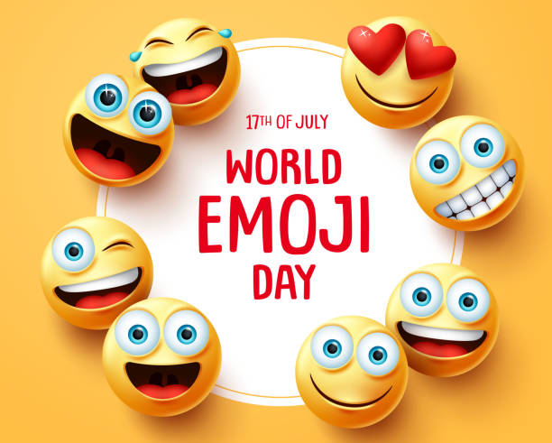 world emoji day vector background template. world emoji day text in circle white frame with cute smileys emojis face and different facial. - group of people stock illustrations