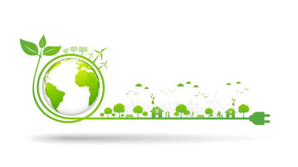 world environment and sustainable development concept, vector illustration - sustainability stock illustrations