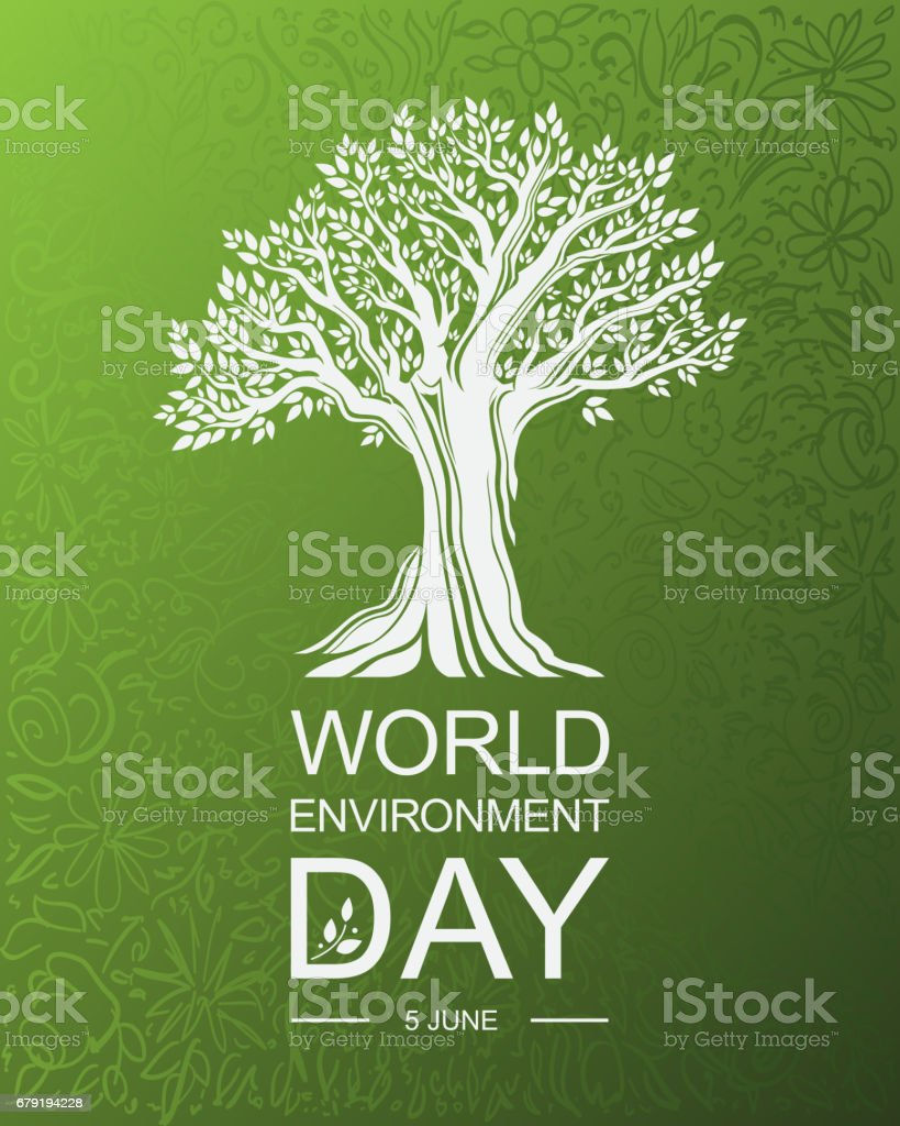 Tarjeta del día del medio ambiente mundial o del fondo con árbol abd hojas. - ilustración de arte vectorial