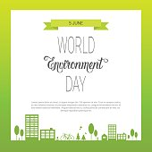 Save World Environment Day Ecology Protection Holiday Greeting Card Flat Vector Illustration