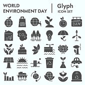 World environment day glyph icon set, ecology symbols collection, vector sketches, logo illustrations, nature conservation signs solid pictograms package isolated on white background, eps 10