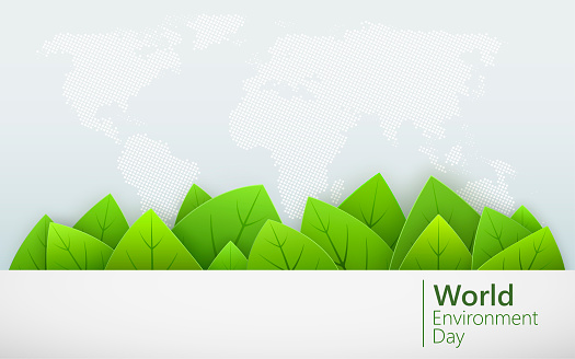 World Environment day. Green leaves shapes with shadow on world map background. Vector illustration