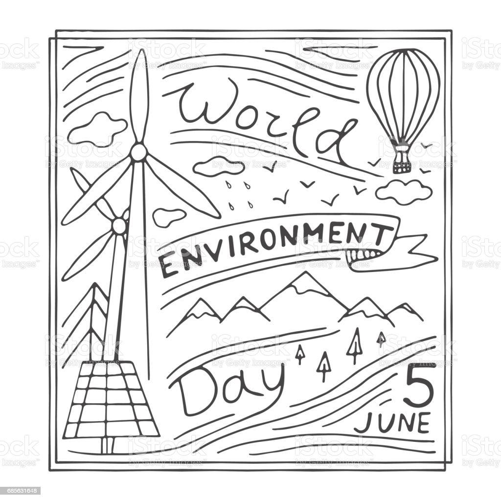 世界環境日手繪製的插圖。 免版稅 世界環境日手繪製的插圖 向量插圖及更多 俄羅斯 圖片