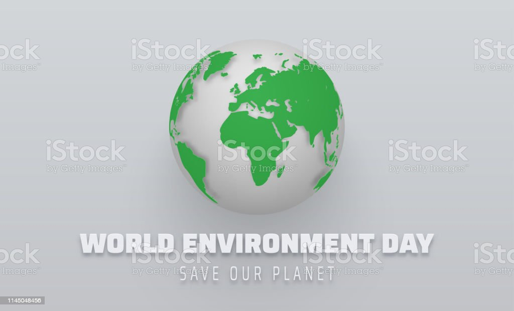 World environment day. Poster with green planet Earth. Eco friendly...