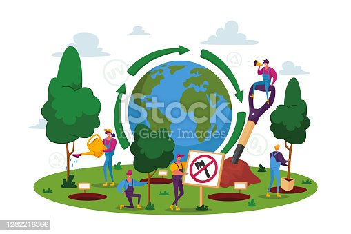 istock World Environment Day, Reforestation, People Characters Planting Seedlings and Growing Trees into Soil Working in Garden 1282216366