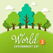 Paper craft for the World Environment Day, the protection of natural environment with the movement of reforestation