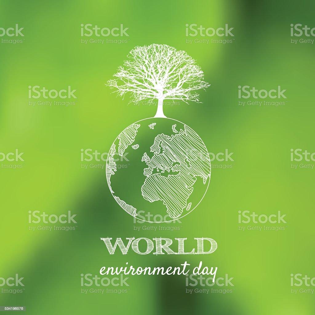 Día mundial del medio ambiente Vector de tarjeta, póster en backgrou verde borrosa - ilustración de arte vectorial