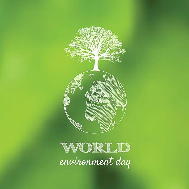 bildbanksillustrationer, clip art samt tecknat material och ikoner med world environment day vector card, poster on blur green backgrou - recycling heart