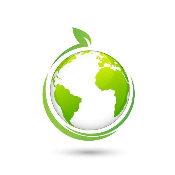 world environmental and ecology friendly design logo, vector illustration - sustainability stock illustrations