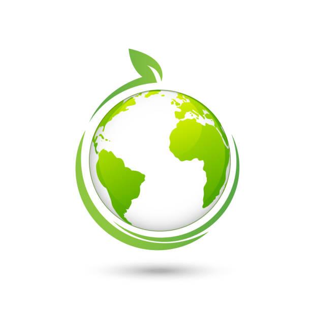 ilustrações de stock, clip art, desenhos animados e ícones de world environmental and ecology friendly design logo, vector illustration - sustainability