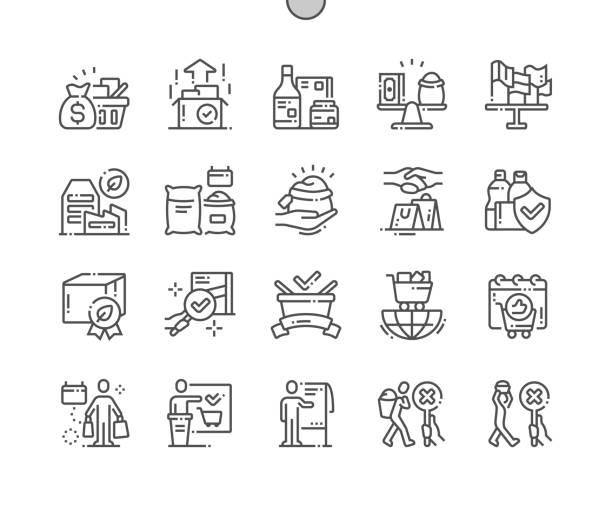 ilustrações, clipart, desenhos animados e ícones de dia do comércio justo do mundo bem-crafted pixel perfect vector linha fina ícones 30 2x grid para web graphics e apps. pictograma mínimo simples - dia do cliente