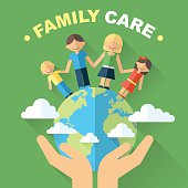 Vector family and world care and protection concept. Illustration of happy family, standing on globe with hands carefully holding it. Flat style. Eps 10.