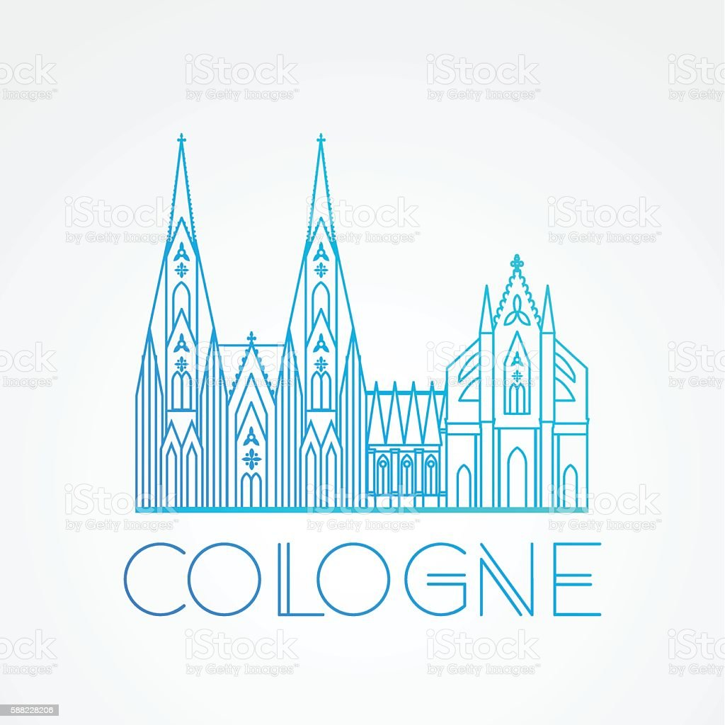World famous Cologne cathedral. vector art illustration