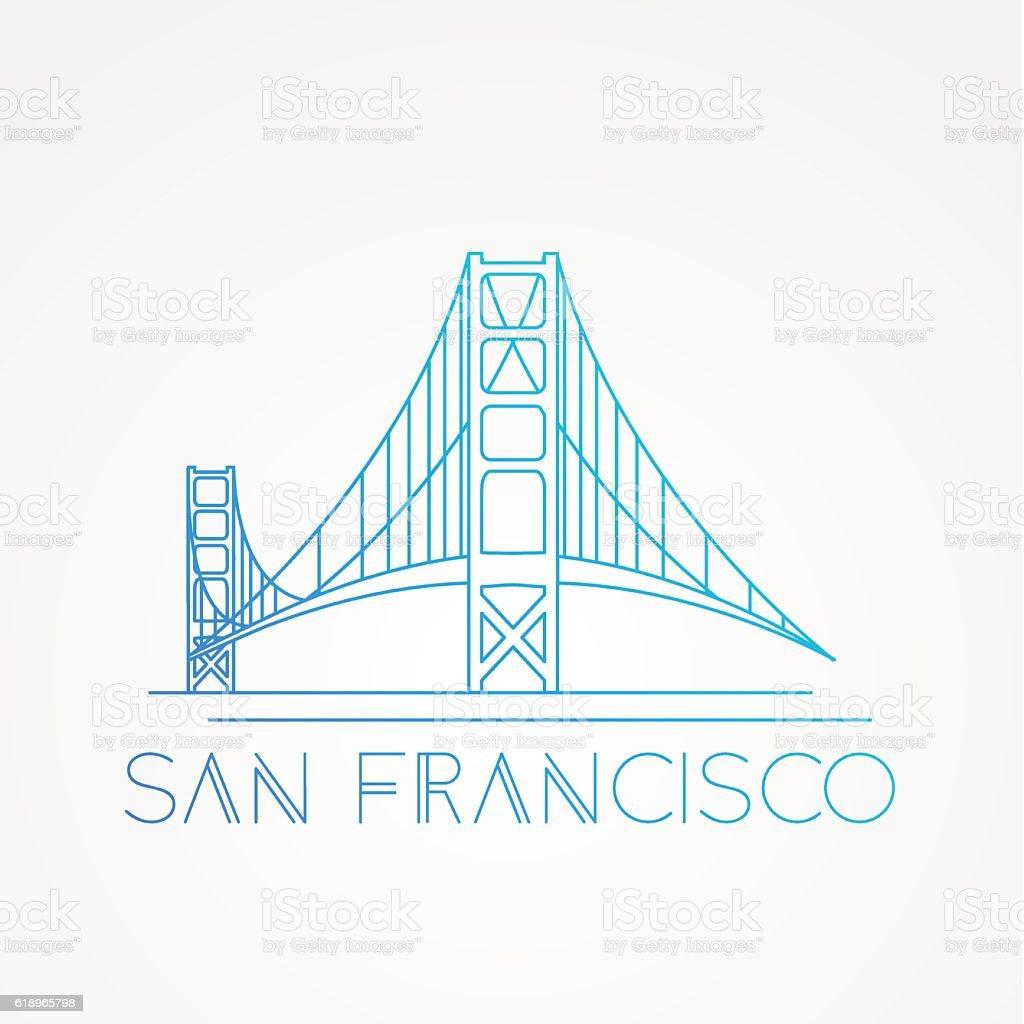 World famous Golden Gate bridge vector art illustration