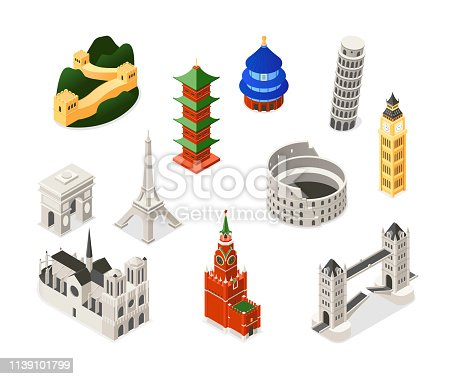 World famous landmarks - colorful isometric set of objects. Buildings, architecture. Notre-Dame de Paris, Triumphal arch, Big Ben, Pisa, Eiffel Tower, Colosseum, Kremlin, Great wall, Temple of Heaven