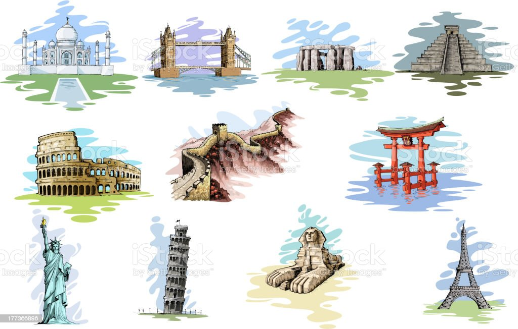 World Famous Monument royalty-free stock vector art