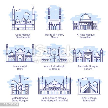 World famous mosques. Kaaba inside Masjid al-Haram, Faisal Mosque in Islamabad Islam religion sacred places thin line icons set. Muslim landmark architecture isolated linear flat vector illustrations